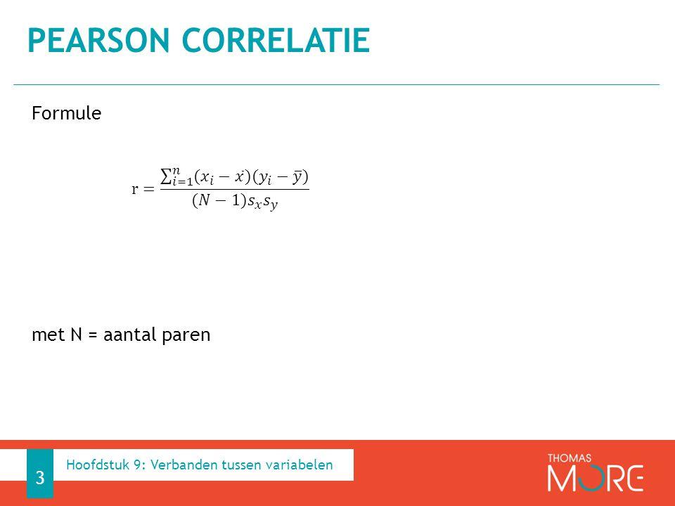 Pearson correlatie Formule met N = aantal paren