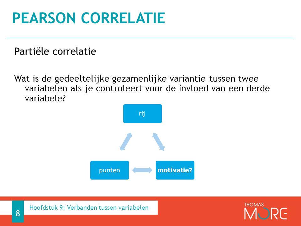 Pearson correlatie Partiële correlatie