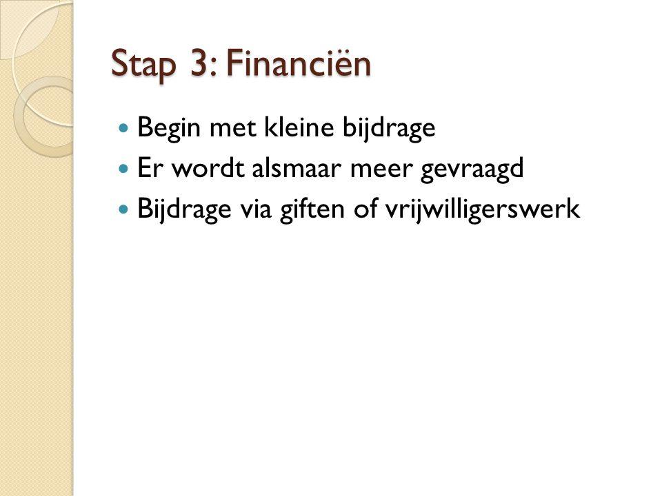 Stap 3: Financiën Begin met kleine bijdrage