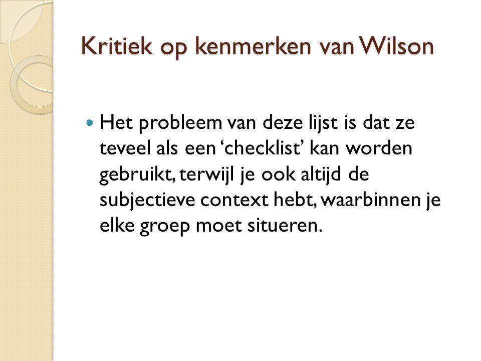 Kritiek op kenmerken van Wilson