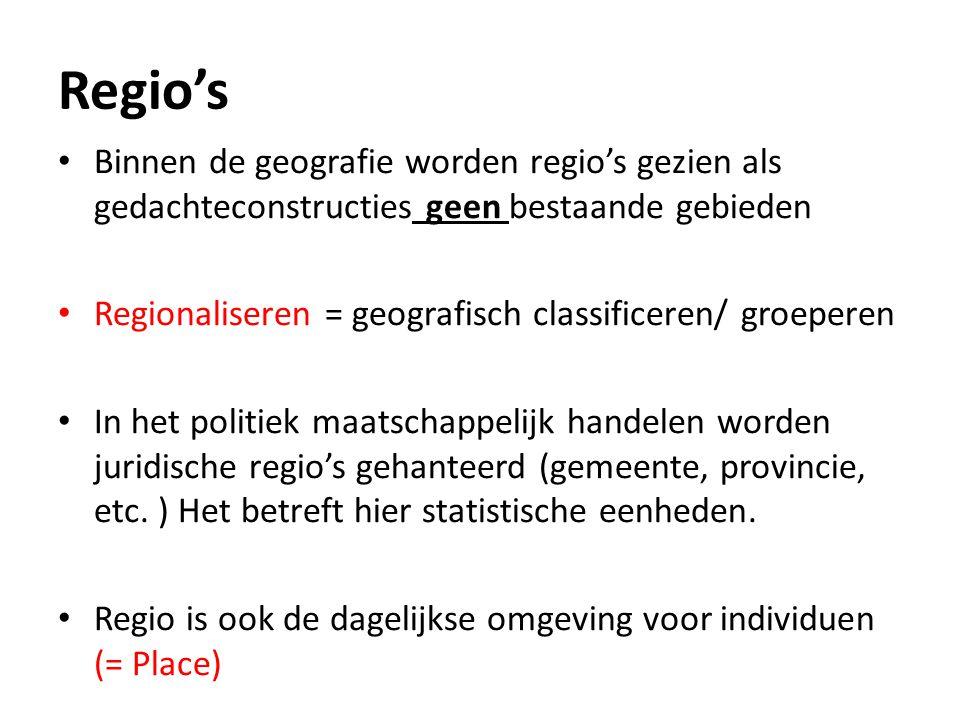 Regio's Binnen de geografie worden regio's gezien als gedachteconstructies geen bestaande gebieden.