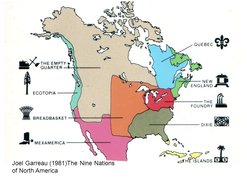 Regionale identiteit Joel Garreau (1981)The Nine Nations of North America