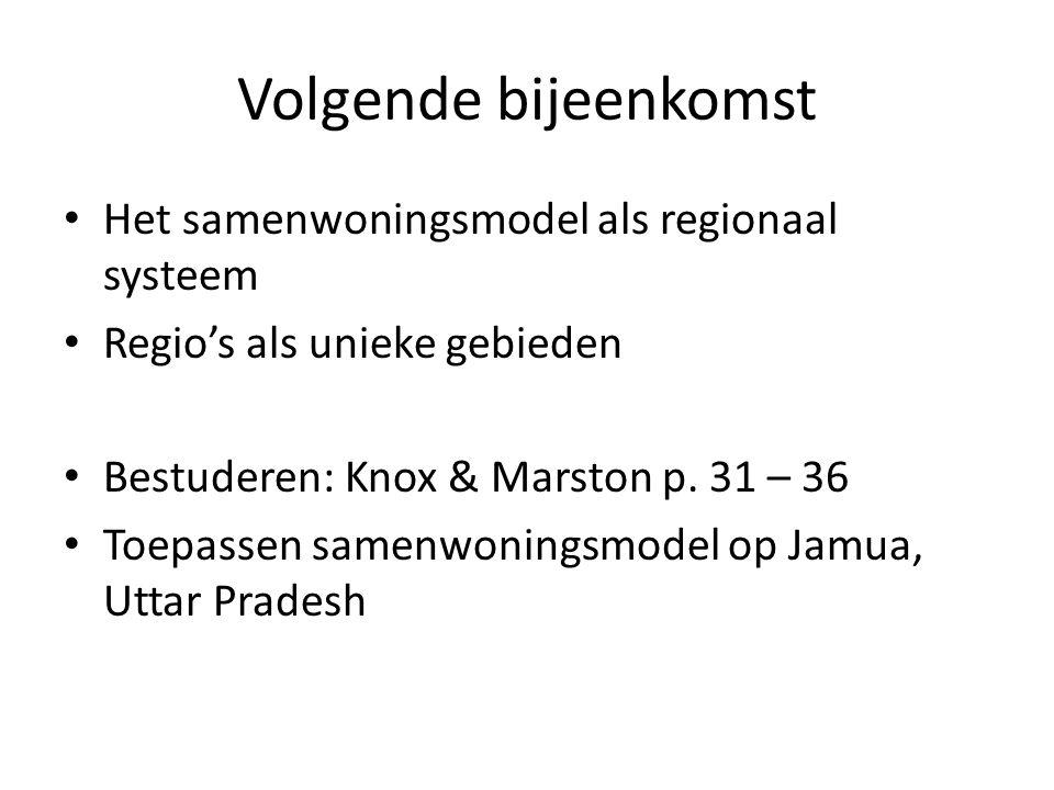 Volgende bijeenkomst Het samenwoningsmodel als regionaal systeem