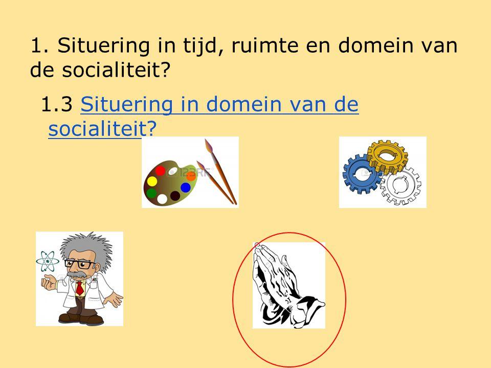 1. Situering in tijd, ruimte en domein van de socialiteit