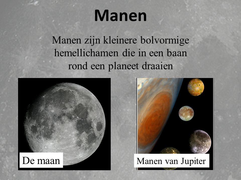 Manen Manen zijn kleinere bolvormige hemellichamen die in een baan rond een planeet draaien. De maan.