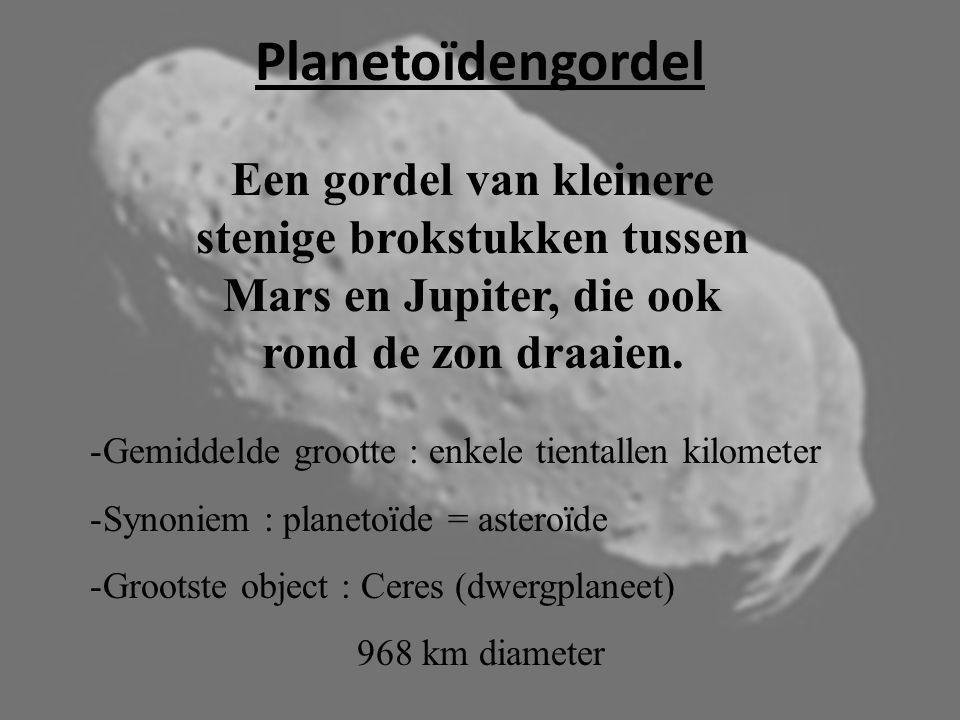 Planetoïdengordel Een gordel van kleinere stenige brokstukken tussen Mars en Jupiter, die ook rond de zon draaien.