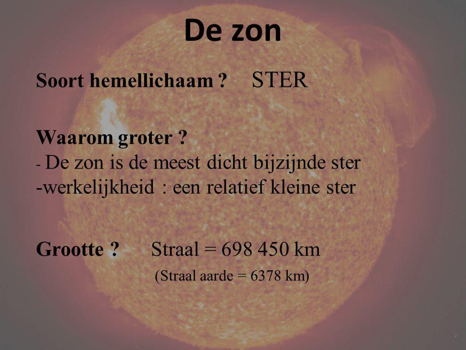 De zon Soort hemellichaam STER Waarom groter