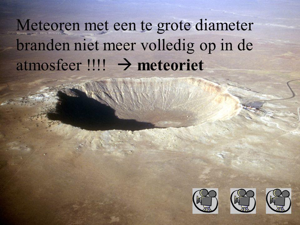 Meteoren met een te grote diameter branden niet meer volledig op in de atmosfeer !!!!  meteoriet