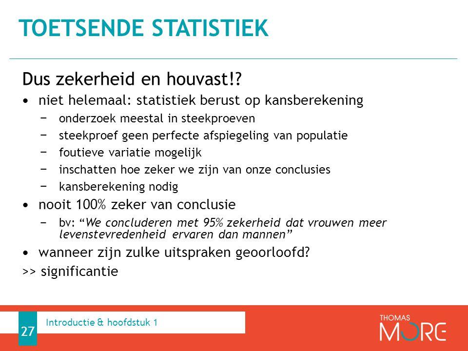 Toetsende statistiek Dus zekerheid en houvast!