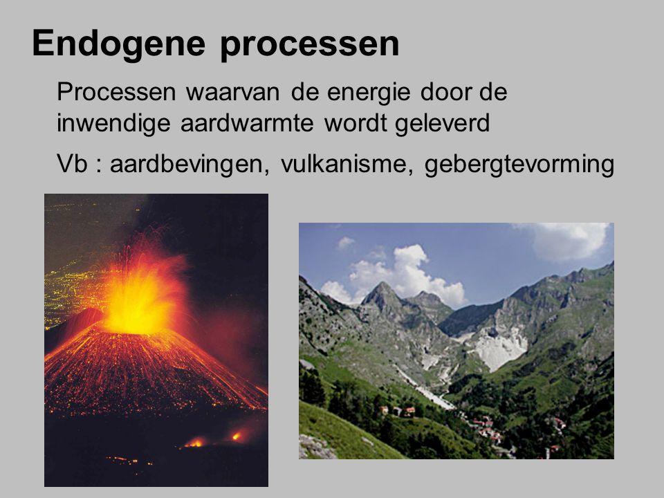 Endogene processen Processen waarvan de energie door de inwendige aardwarmte wordt geleverd.