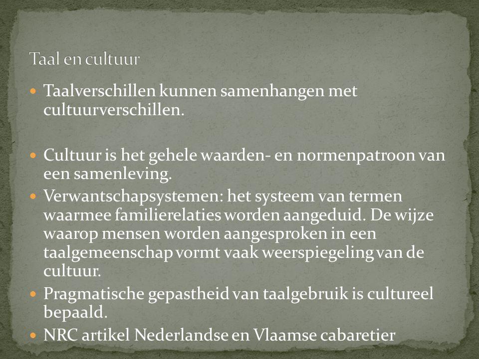 Taal en cultuur Taalverschillen kunnen samenhangen met cultuurverschillen. Cultuur is het gehele waarden- en normenpatroon van een samenleving.