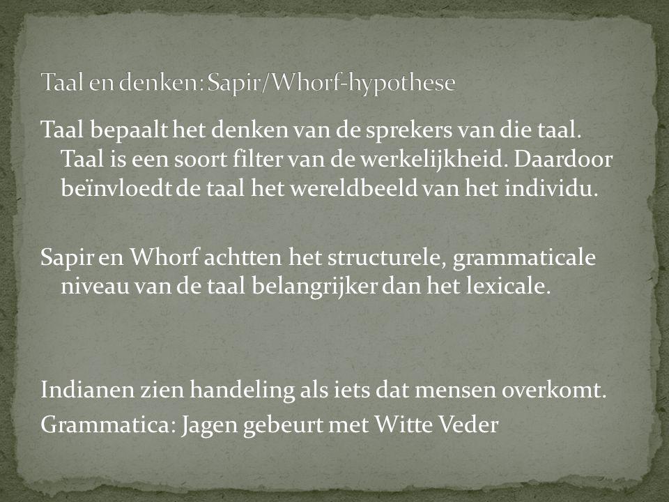 Taal en denken: Sapir/Whorf-hypothese
