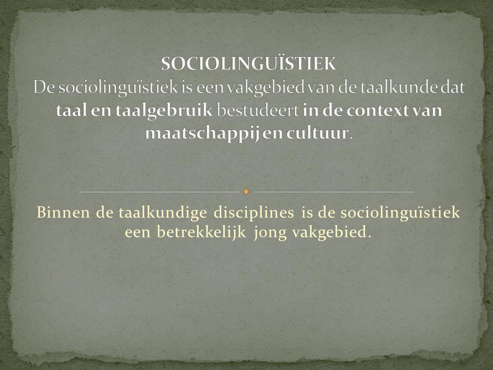 SOCIOLINGUÏSTIEK De sociolinguïstiek is een vakgebied van de taalkunde dat taal en taalgebruik bestudeert in de context van maatschappij en cultuur.