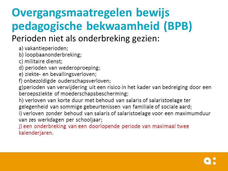 Overgangsmaatregelen bewijs pedagogische bekwaamheid (BPB)