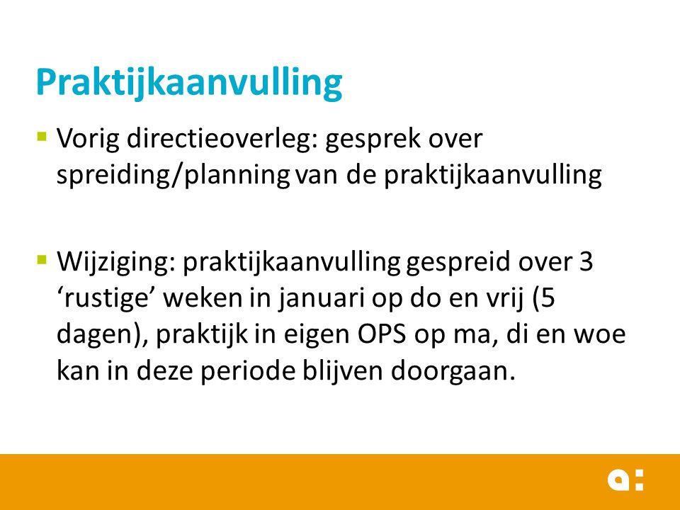 Praktijkaanvulling Vorig directieoverleg: gesprek over spreiding/planning van de praktijkaanvulling.