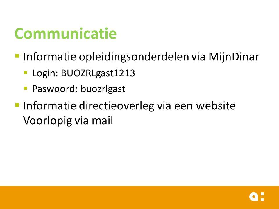 Communicatie Informatie opleidingsonderdelen via MijnDinar