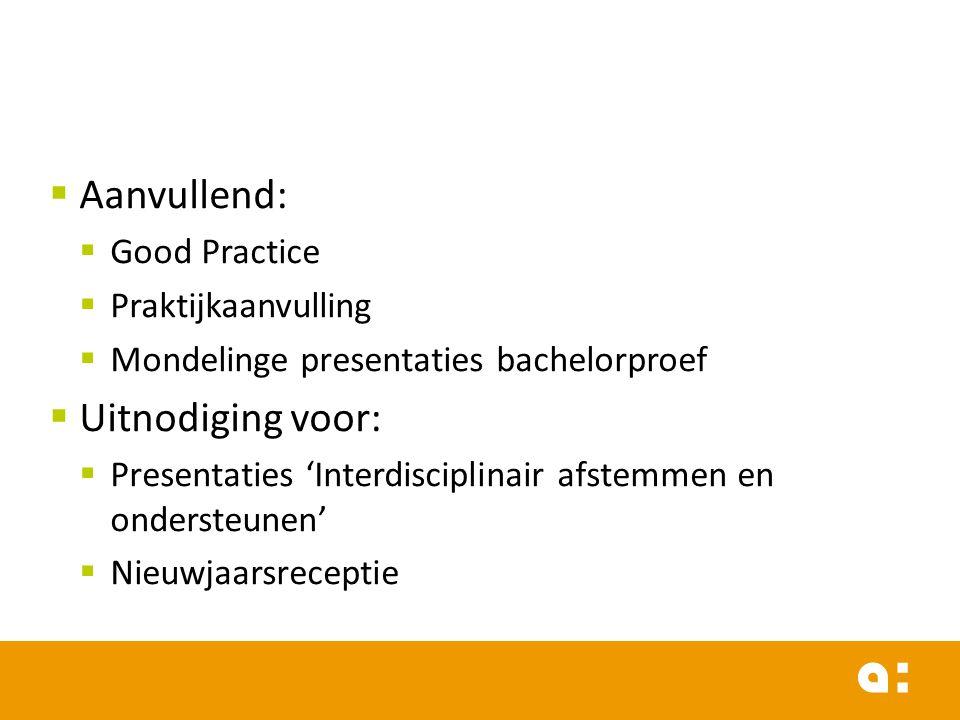 Aanvullend: Uitnodiging voor: Good Practice Praktijkaanvulling
