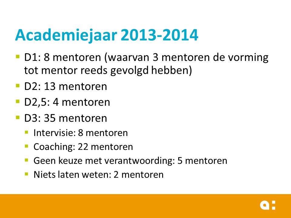 Academiejaar 2013-2014 D1: 8 mentoren (waarvan 3 mentoren de vorming tot mentor reeds gevolgd hebben)