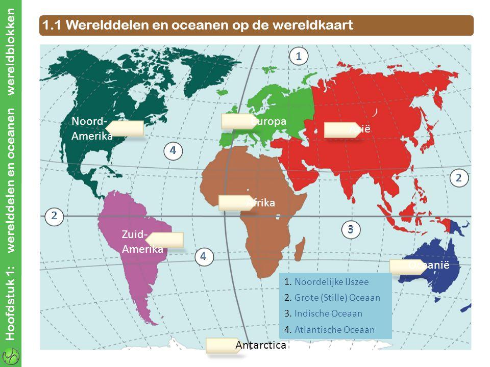 1.1 Werelddelen en oceanen op de wereldkaart
