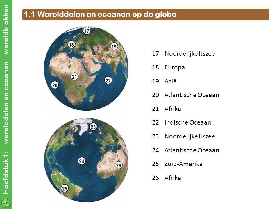1.1 Werelddelen en oceanen op de globe