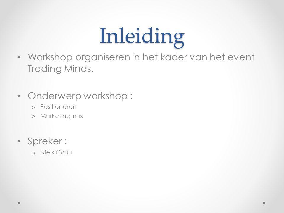 Inleiding Workshop organiseren in het kader van het event Trading Minds. Onderwerp workshop : Positioneren.