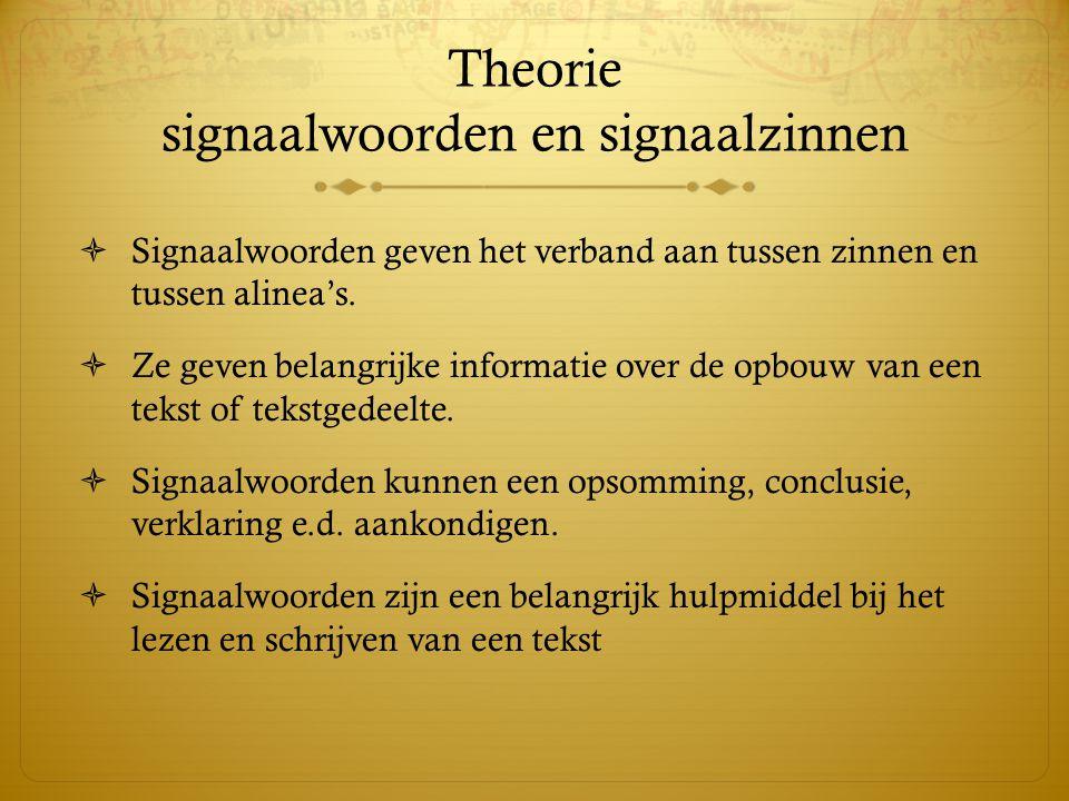 Theorie signaalwoorden en signaalzinnen