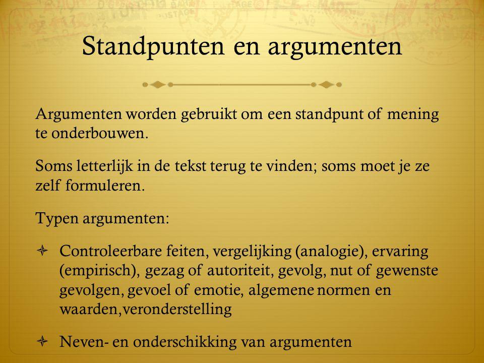 Standpunten en argumenten