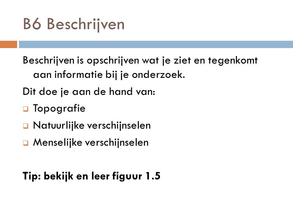 B6 Beschrijven Beschrijven is opschrijven wat je ziet en tegenkomt aan informatie bij je onderzoek.