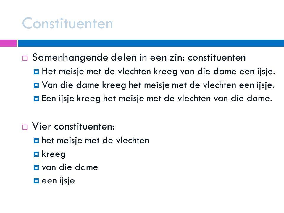 Constituenten Samenhangende delen in een zin: constituenten