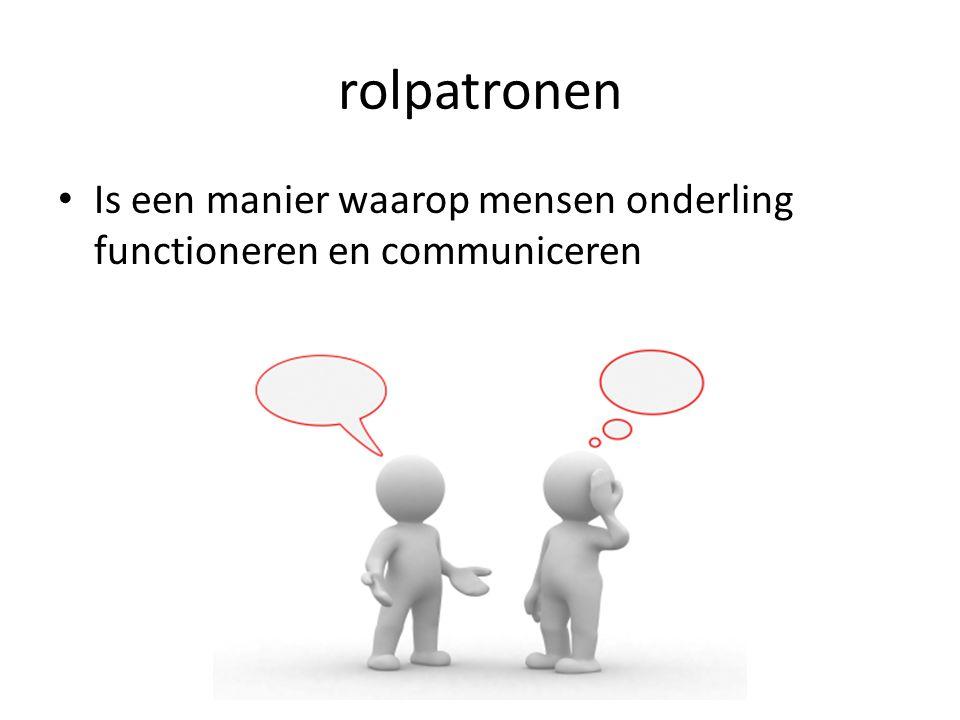 rolpatronen Is een manier waarop mensen onderling functioneren en communiceren