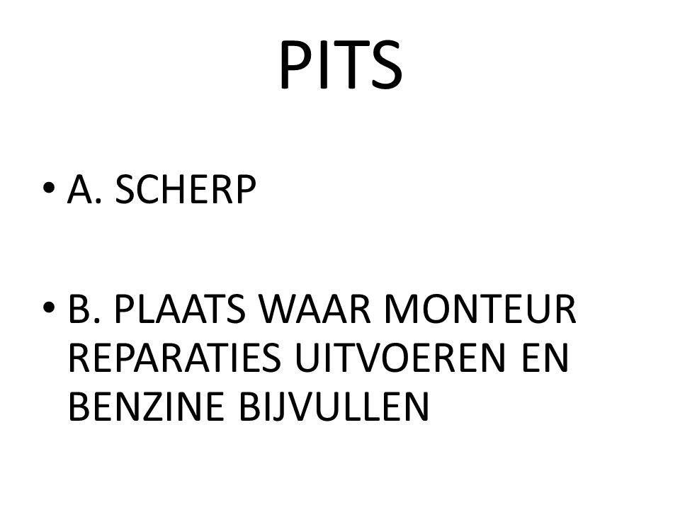 PITS A. SCHERP B. PLAATS WAAR MONTEUR REPARATIES UITVOEREN EN BENZINE BIJVULLEN