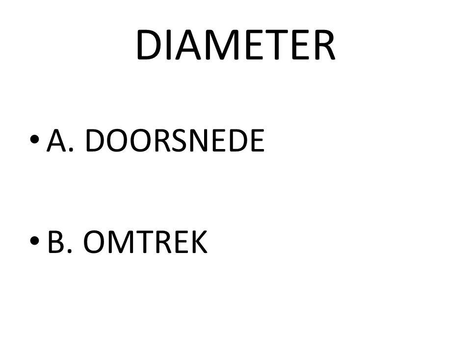 DIAMETER A. DOORSNEDE B. OMTREK