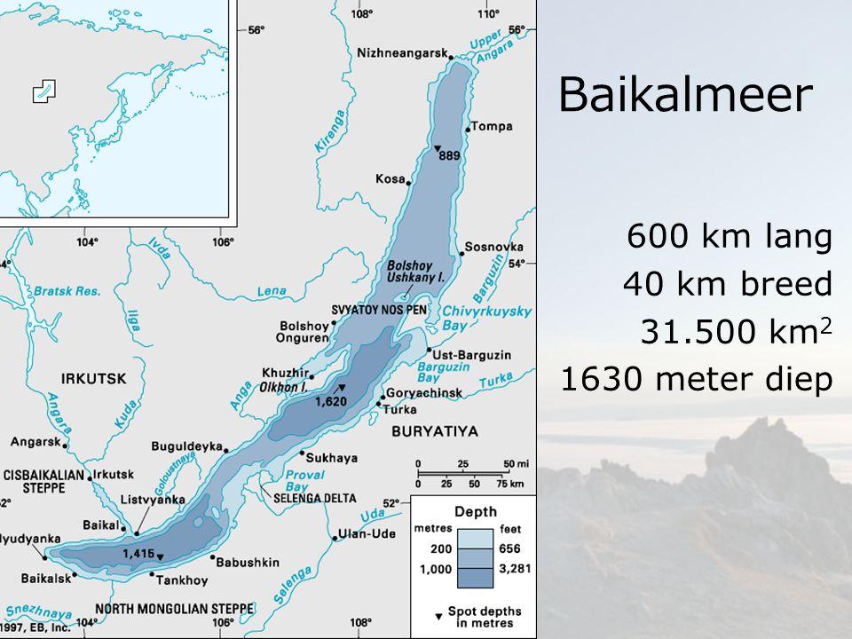 600 km lang 40 km breed 31.500 km2 1630 meter diep