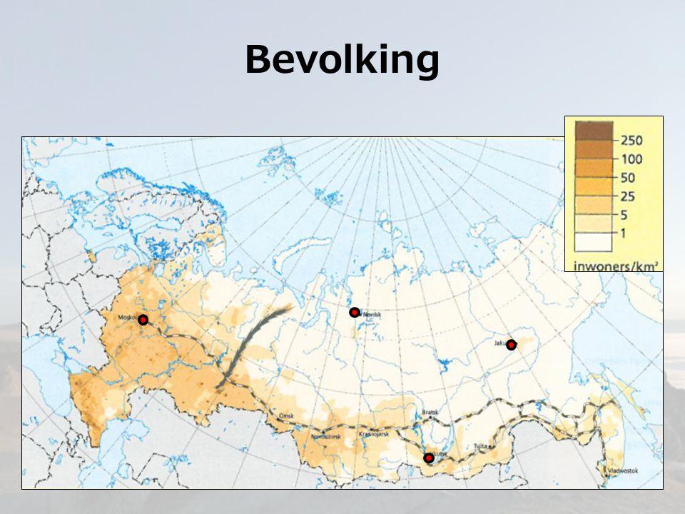 Bevolking Siberië 75% landopp v Rusland 20% van Russische bevolking