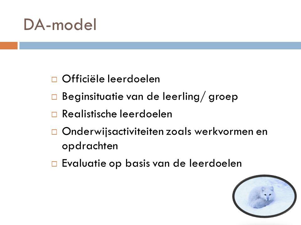 DA-model Officiële leerdoelen Beginsituatie van de leerling/ groep
