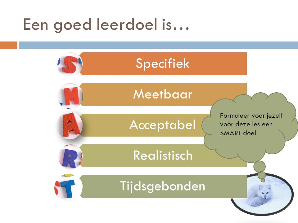Een goed leerdoel is… Specifiek Meetbaar Acceptabel Realistisch