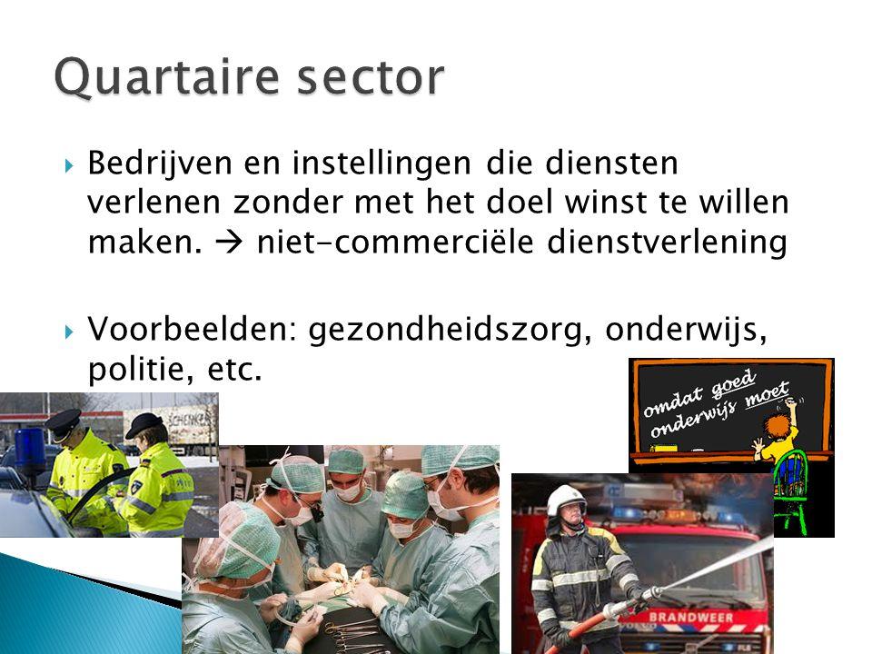 Quartaire sector Bedrijven en instellingen die diensten verlenen zonder met het doel winst te willen maken.  niet-commerciële dienstverlening.