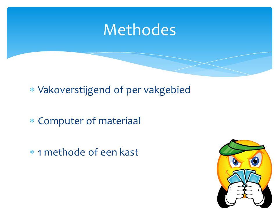 Methodes Vakoverstijgend of per vakgebied Computer of materiaal