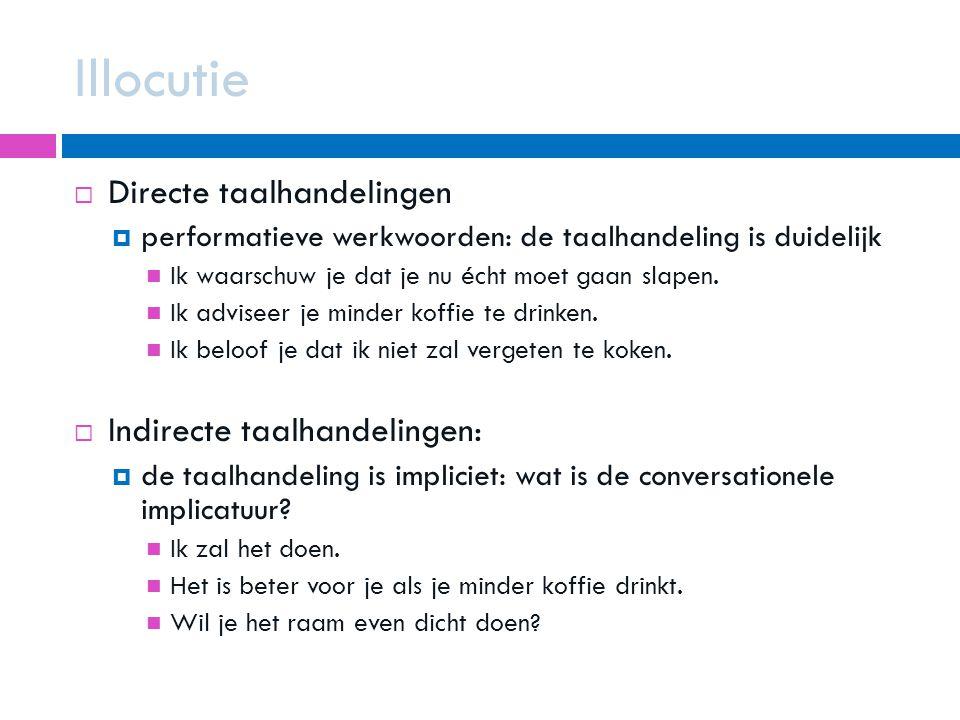 Illocutie Directe taalhandelingen Indirecte taalhandelingen: