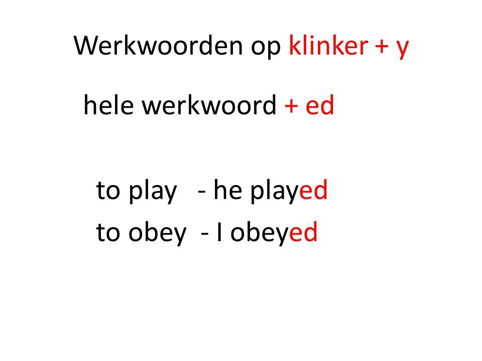 Werkwoorden op klinker + y