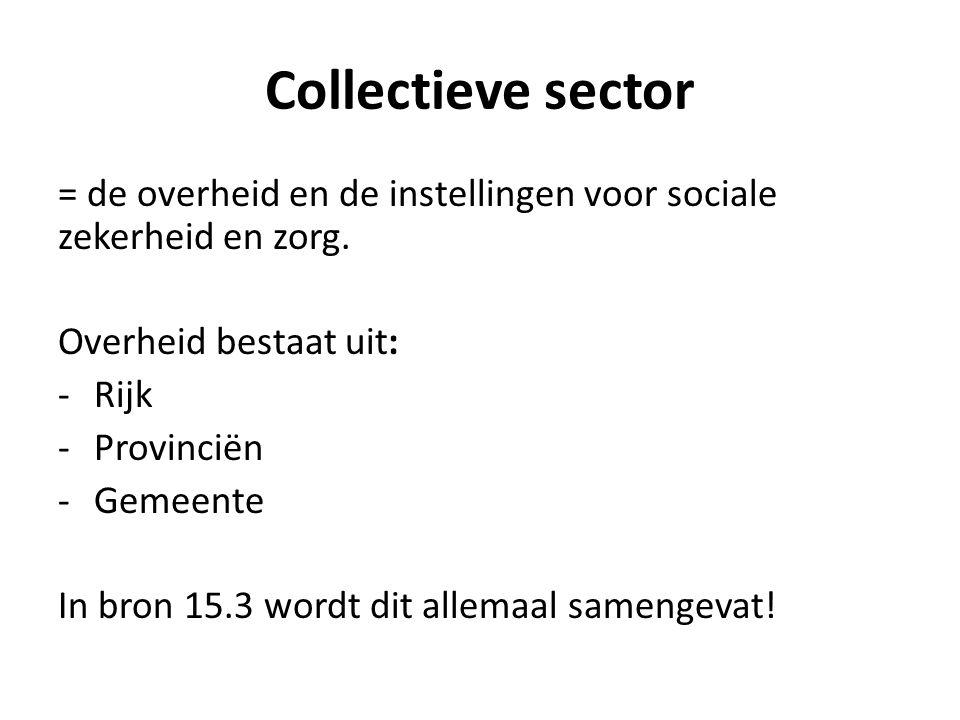 Collectieve sector = de overheid en de instellingen voor sociale zekerheid en zorg. Overheid bestaat uit: