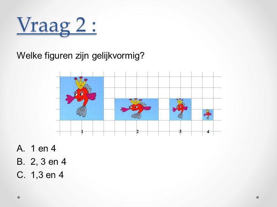 Vraag 2 : Welke figuren zijn gelijkvormig 1 en 4 2, 3 en 4 1,3 en 4