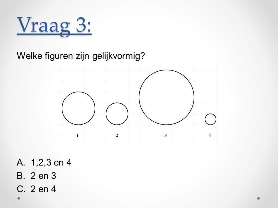 Vraag 3: Welke figuren zijn gelijkvormig 1,2,3 en 4 2 en 3 2 en 4