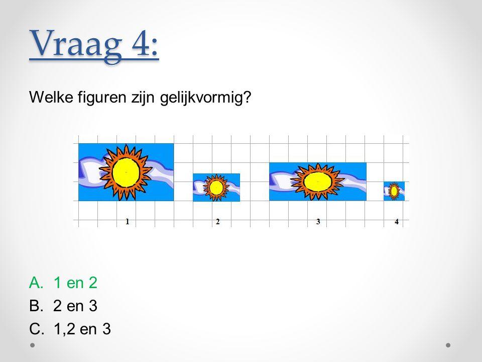 Vraag 4: Welke figuren zijn gelijkvormig 1 en 2 2 en 3 1,2 en 3