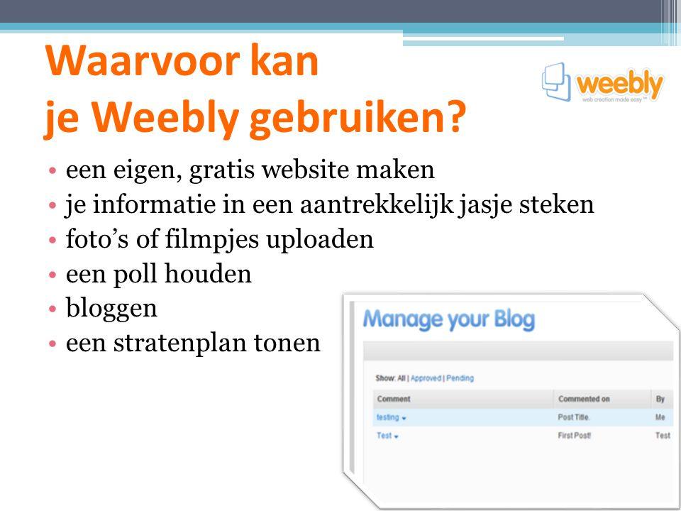 Waarvoor kan je Weebly gebruiken