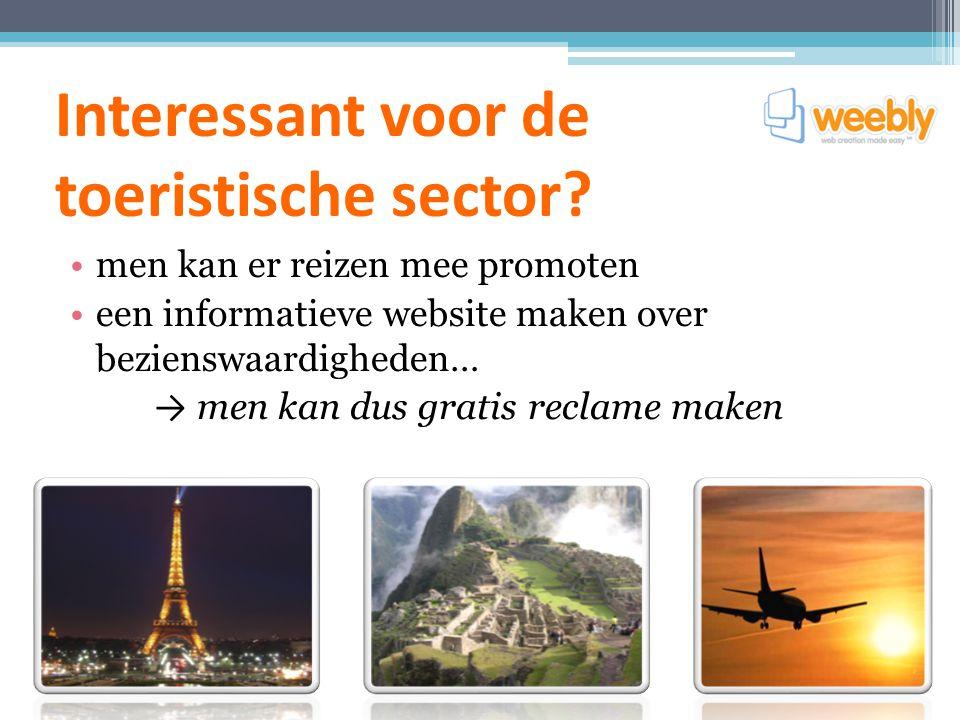Interessant voor de toeristische sector