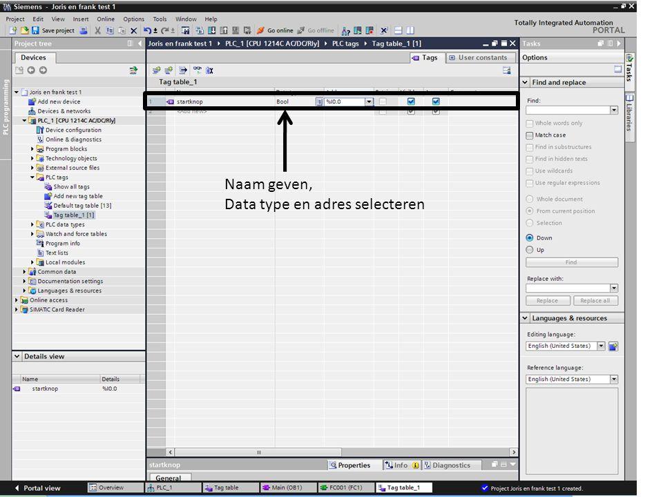 Naam geven, Data type en adres selecteren