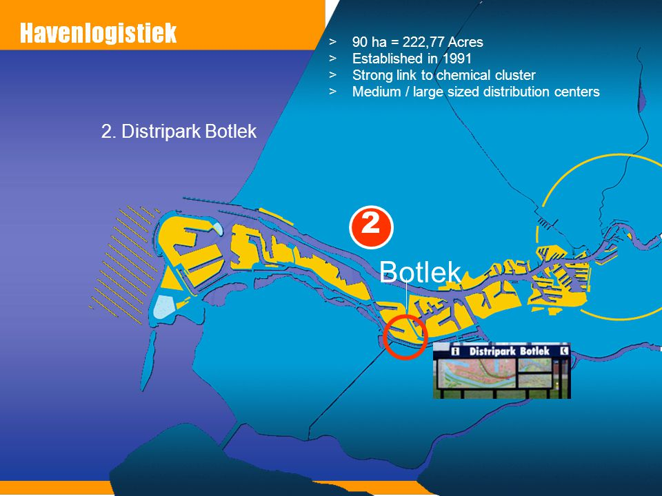 2 Botlek 2. Distripark Botlek 90 ha = 222,77 Acres Established in 1991