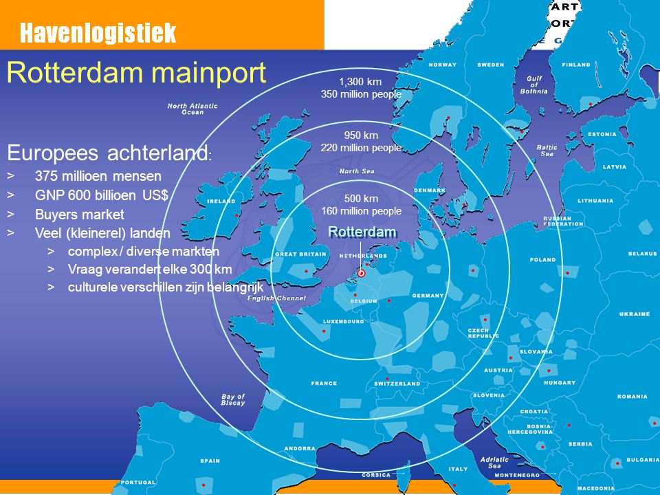 Rotterdam mainport Europees achterland: Rotterdam 375 millioen mensen