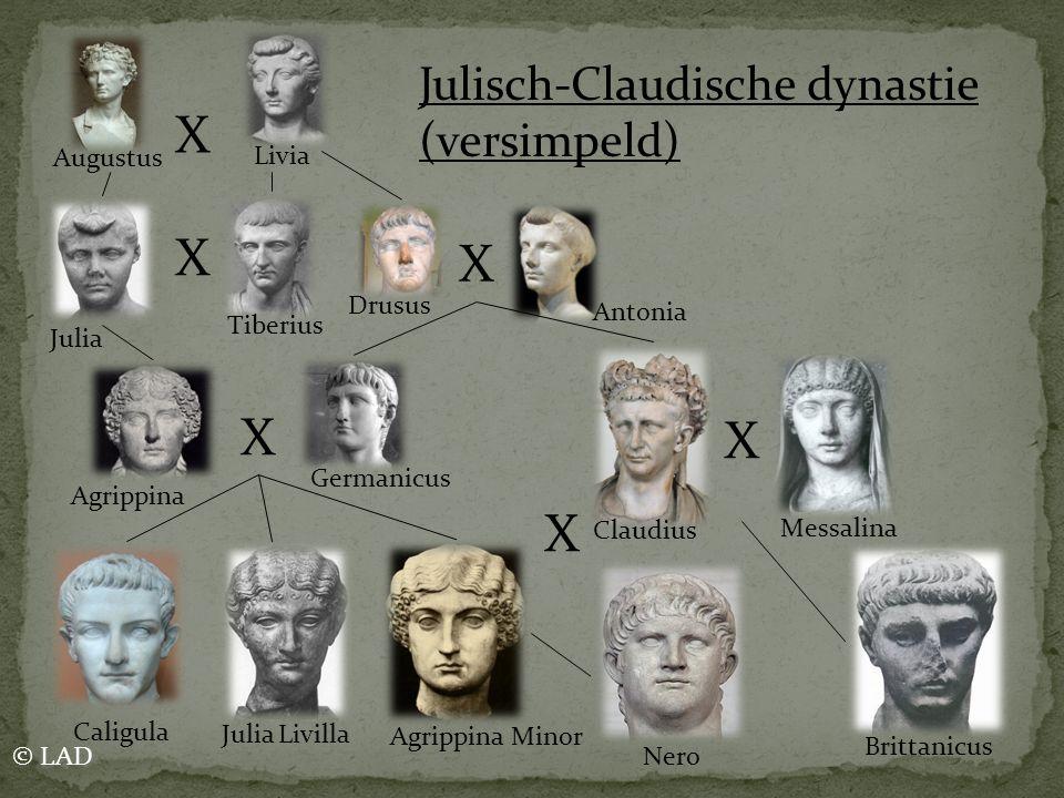 X X X X X X Julisch-Claudische dynastie (versimpeld) Augustus Livia